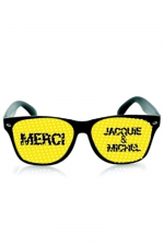 Lunettes noir jaune - Jacquie & Michel : Lunettes promotionnelles à l'effigie de Jacquie et Michel, le site de sexe amateur incontournable. Monture noire et verres jaune.