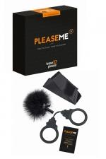 Jeu érotique PleaseMe : Jeu coquin basé sur la stimulation et les sensations, la domination et la soumission. 6 cartes défis et 3 accessoires BDSM inclus.